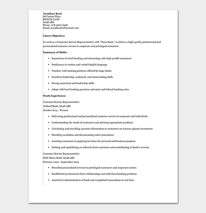 Banking Resume Template 34 Samples Examples