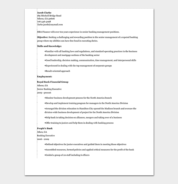 Banking Resume Template 34 Samples Amp Examples