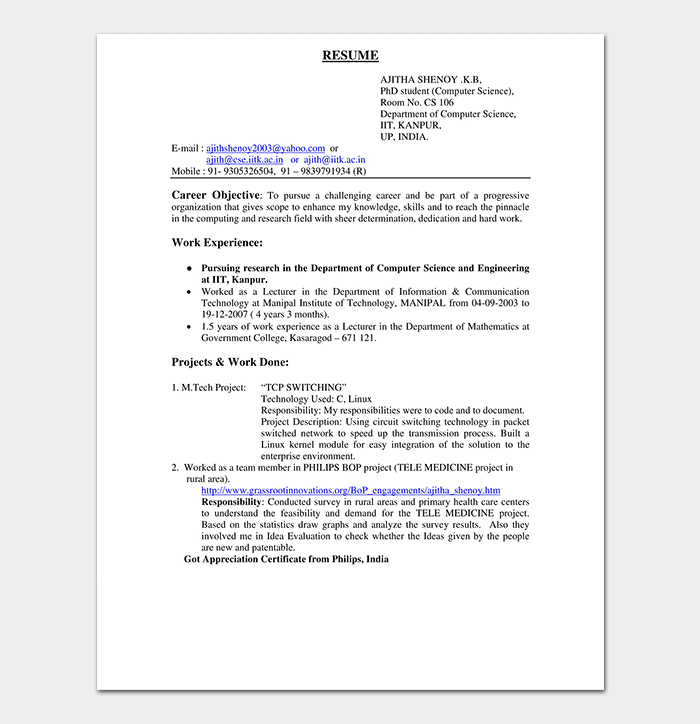 Resume Template For Freshers from images.docformats.com