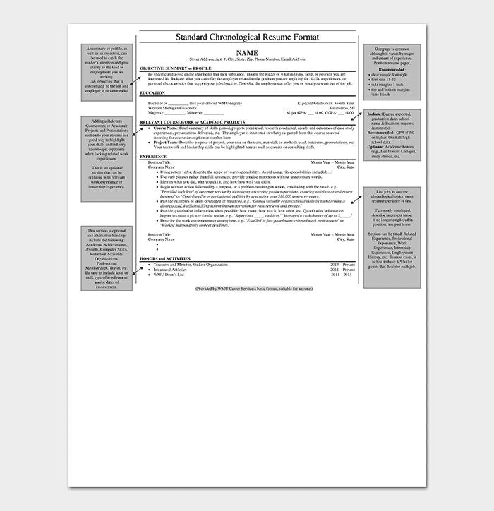 Standard Chronological Resume Template