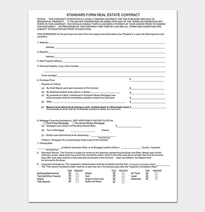 Standard Real Estate Offer Letter