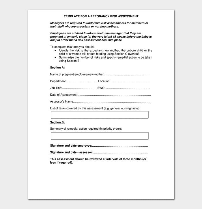Template for Pregnancy Risk Assessment