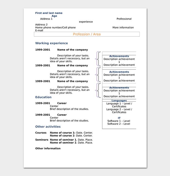 Word Chronological Resume