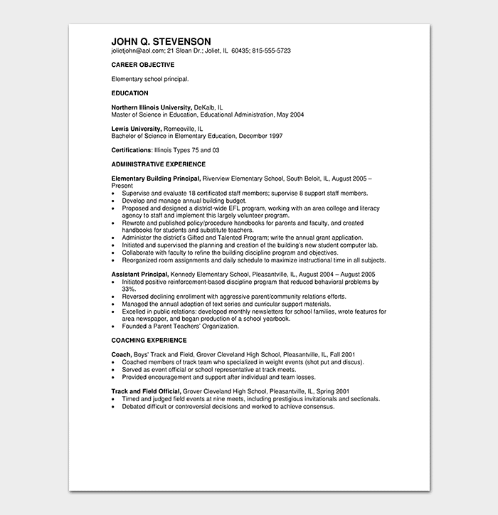 Administration Education Resume