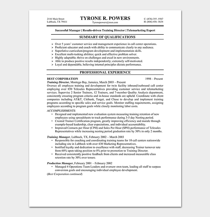 BPO Resume Template - 15+ Samples & Formats