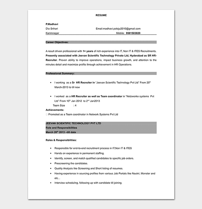 BPO Experienced Resume Template