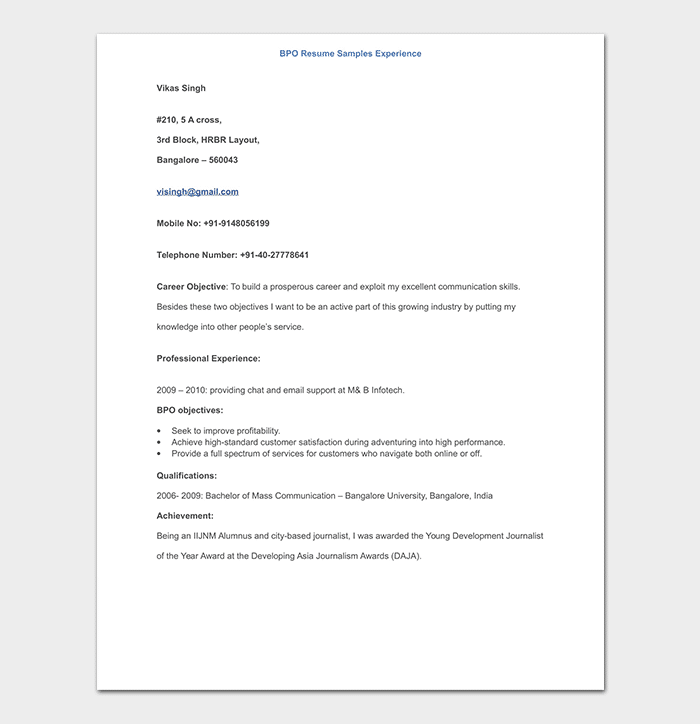 BPO Resume Sample Experience