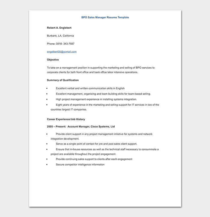 BPO Sales Manager Resume Template