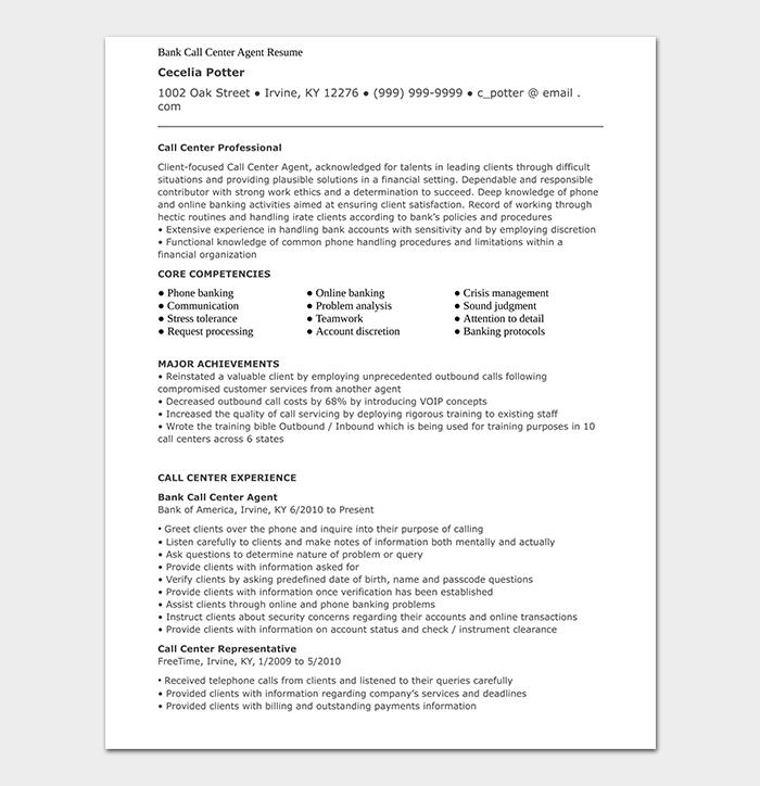 Bank Call Center Agent CV