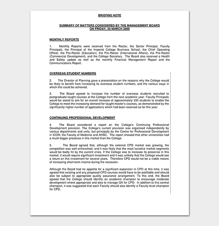 Research briefing paper template