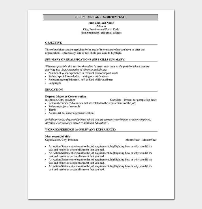 Chronological Resume Outline