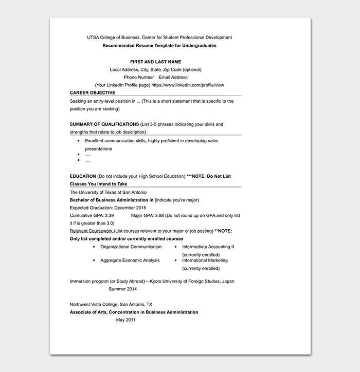 College Resume Template 11 Samples Examples