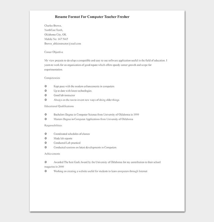 Teacher Resume Template 19 Samples Formats