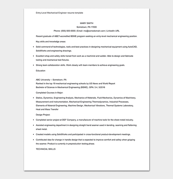 Mechanical Engineer Resume Template 11 Samples Formats - Mechanical-engineering-resume-templates