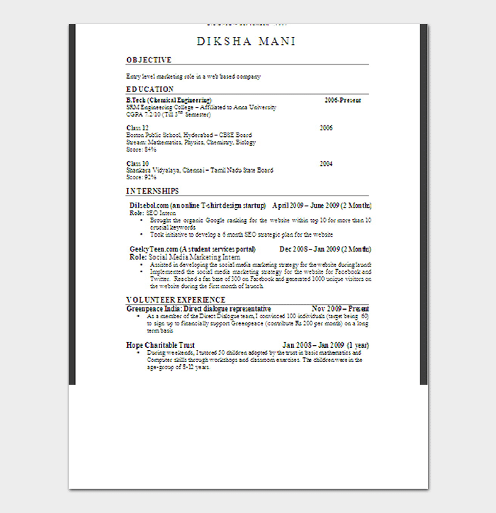 Fresher Professional Resume Format
