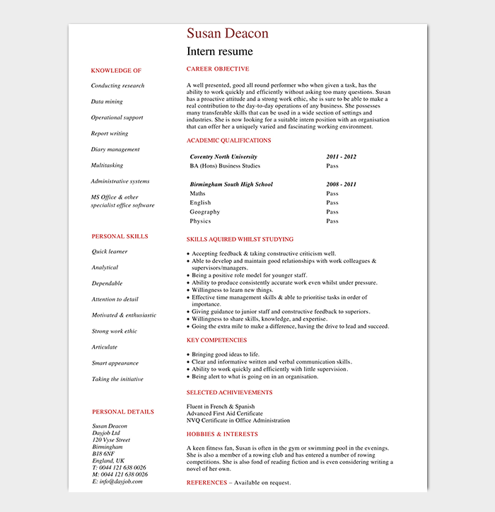High School Internship CV