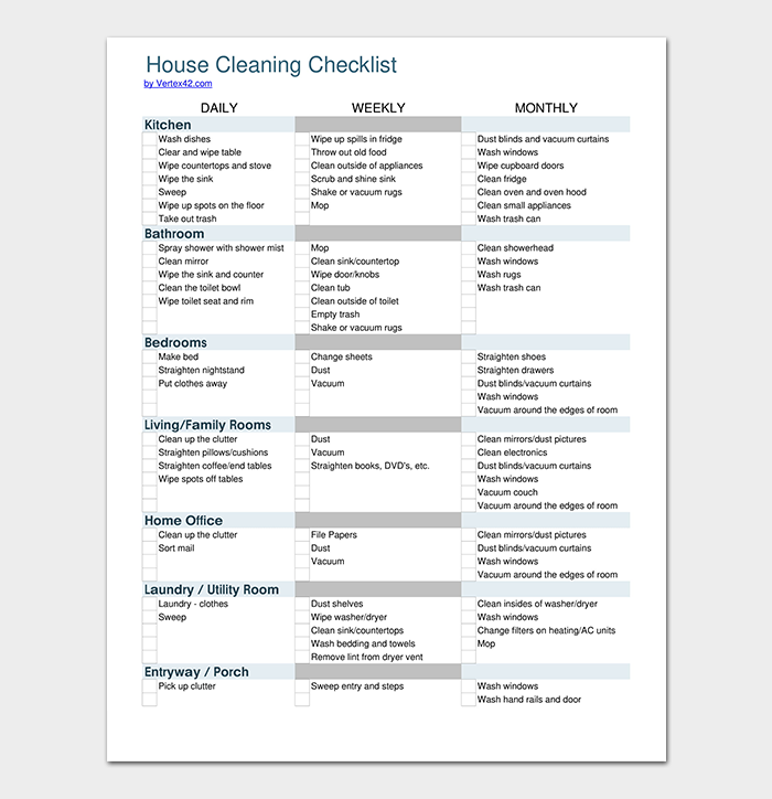 House Cleaning Checklist in PDF