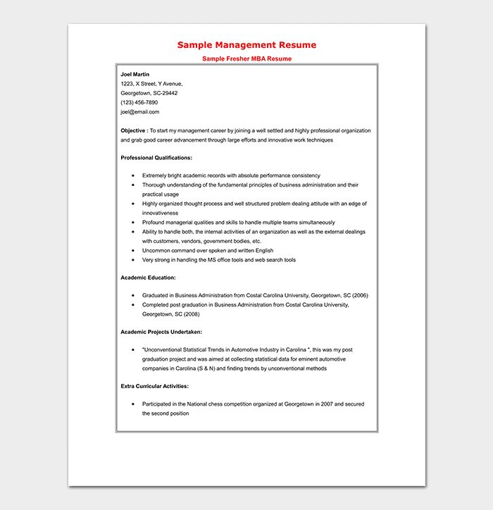 MBA Graduate Fresher Resume Template
