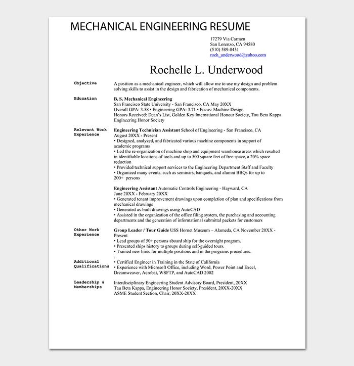 Mechanical Engineering Resume PDF
