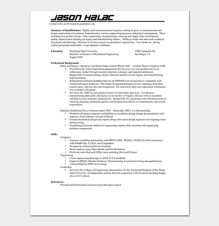 Mechanical Engineering Resume Summary