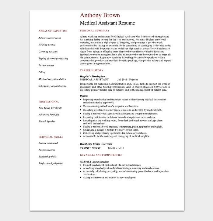 Medical Assistant CV Example