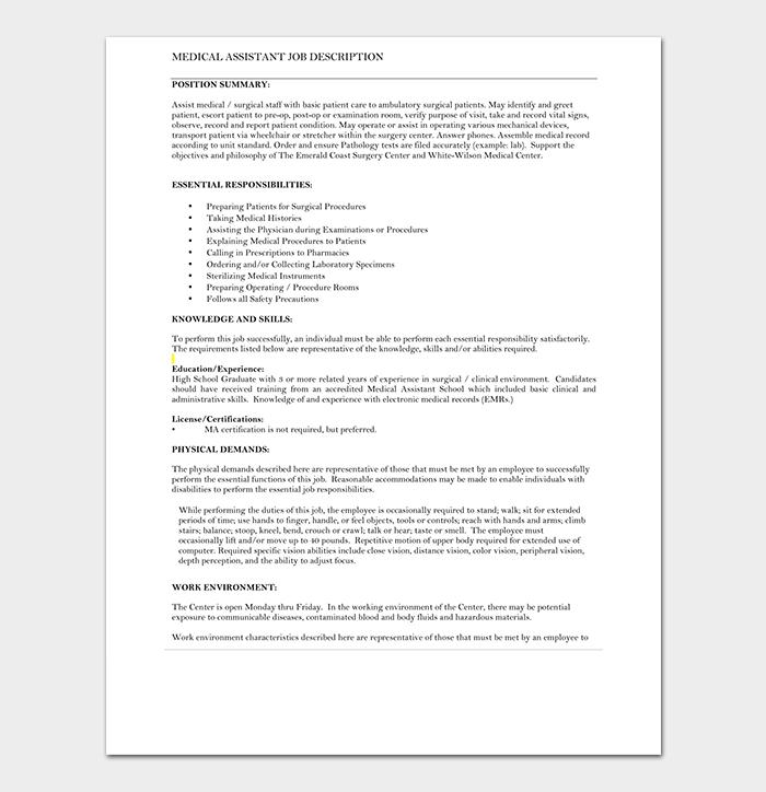 Medical Assistant Job Description CV