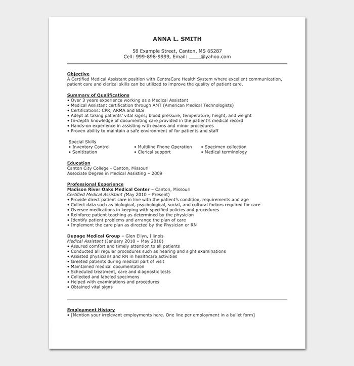 Medical Support Assistant CV