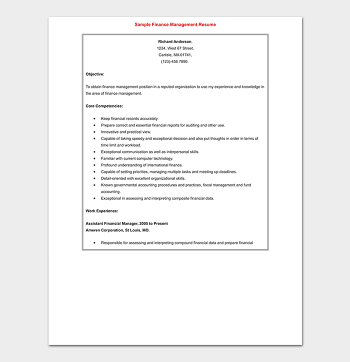 Post Graduate Fresher Resume