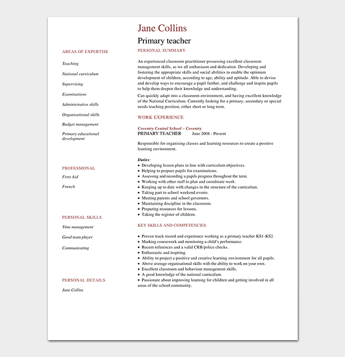 Primary School Teacher Resume PDF