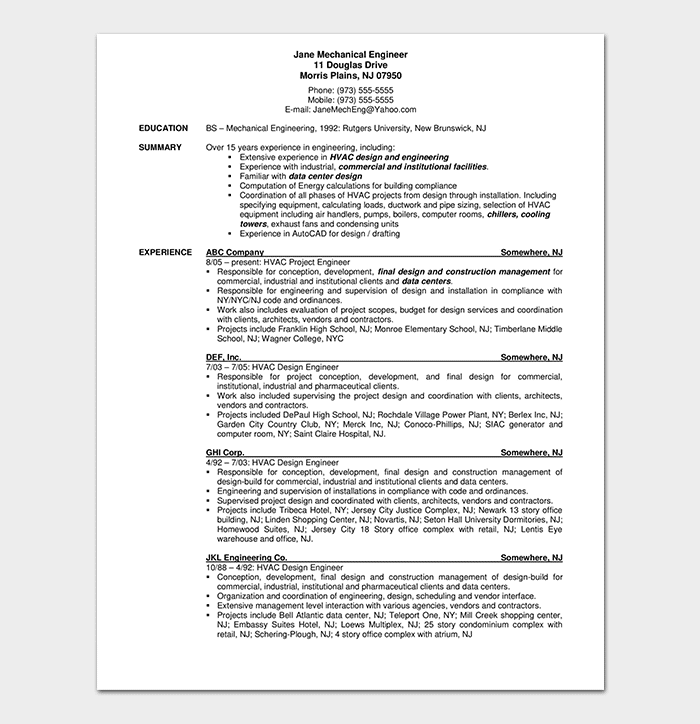 Professional Mechanical Engineering Resume