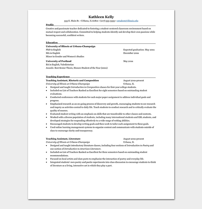 Professional Teacher Resume Format