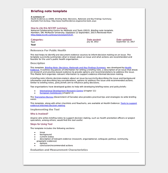 Briefing Note Template - 15+ Samples | Word DOC & PDF Format