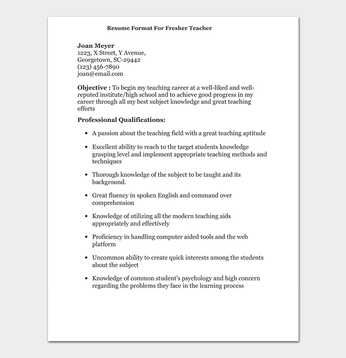 Teacher Resume Template 19 Samples Formats