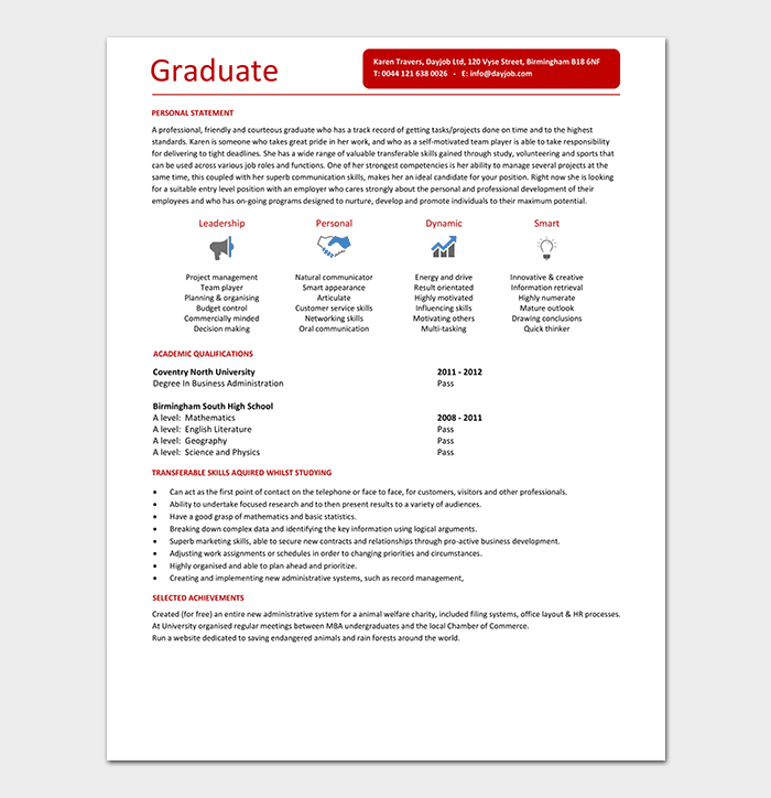 Resume for Marketing Fresher Graduate Template