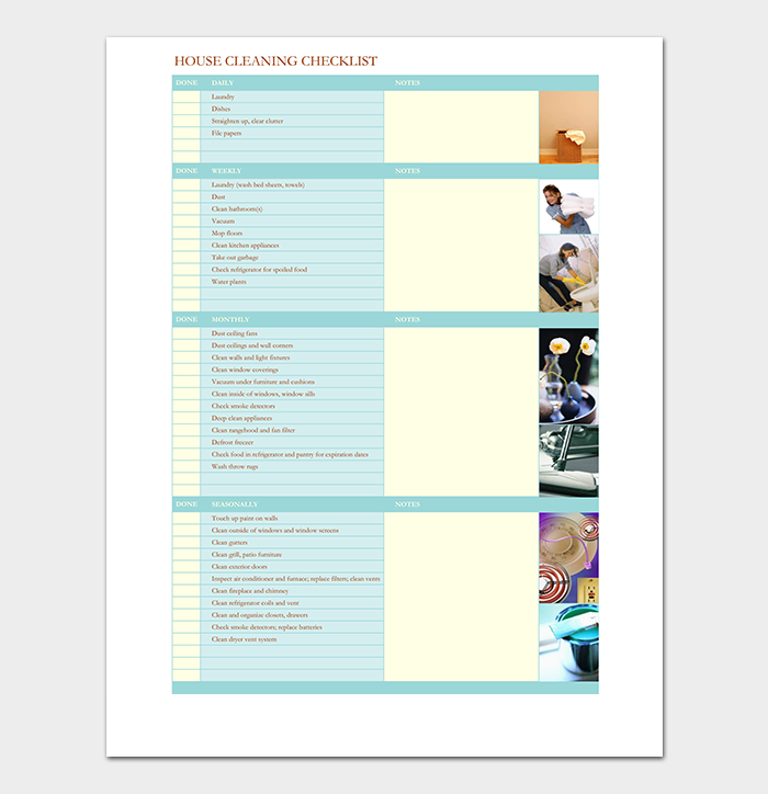 Sample House Cleaning Checklist