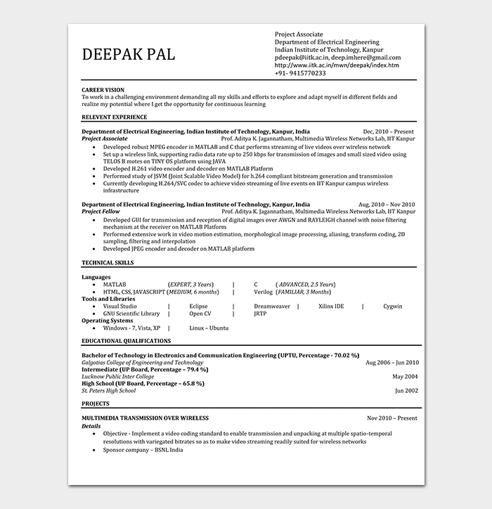 Simple Mechanical Engineering Resume