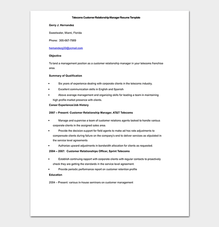 Telecoms Customer Relationship Manager Resume