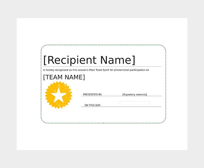 Award Certificate Format