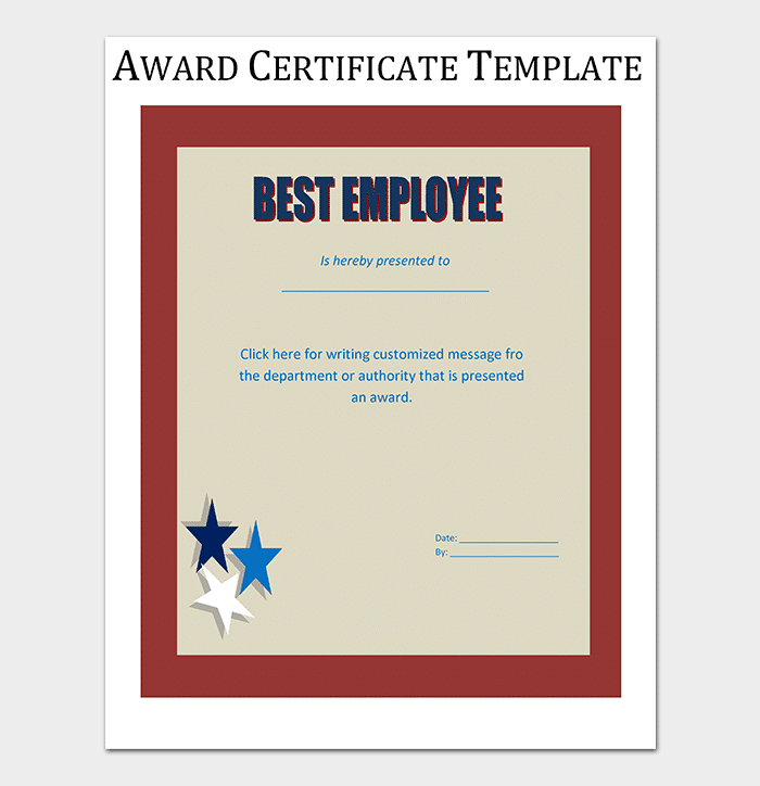 Best EmployeeAward Certificate