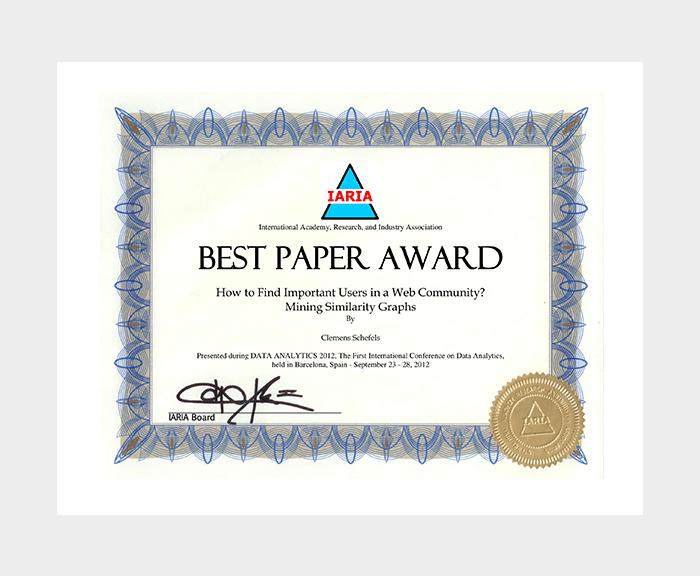 Best Paper Award Certificate