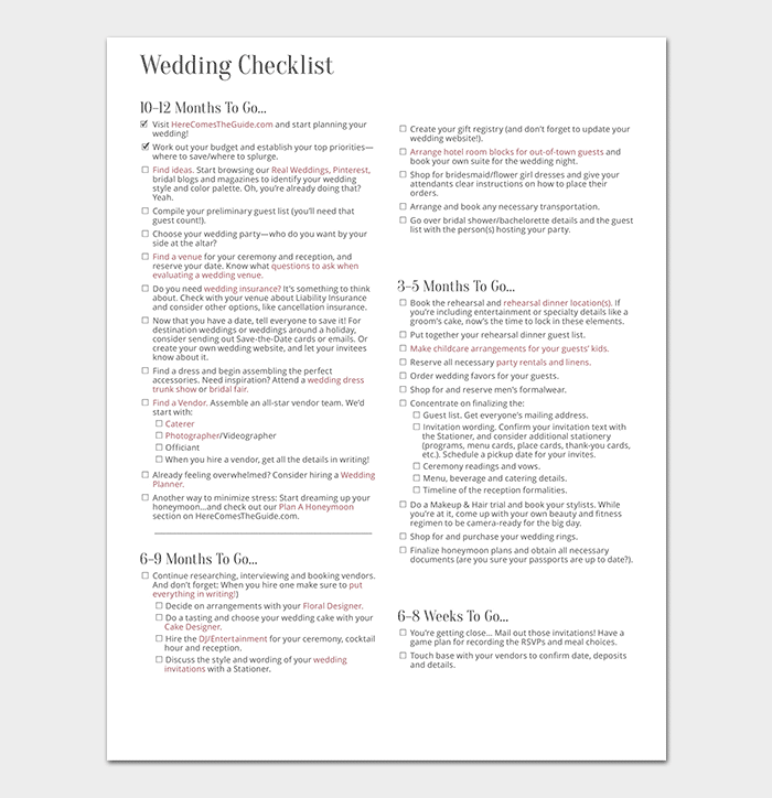 29 wedding checklist templates free for word excel pdf