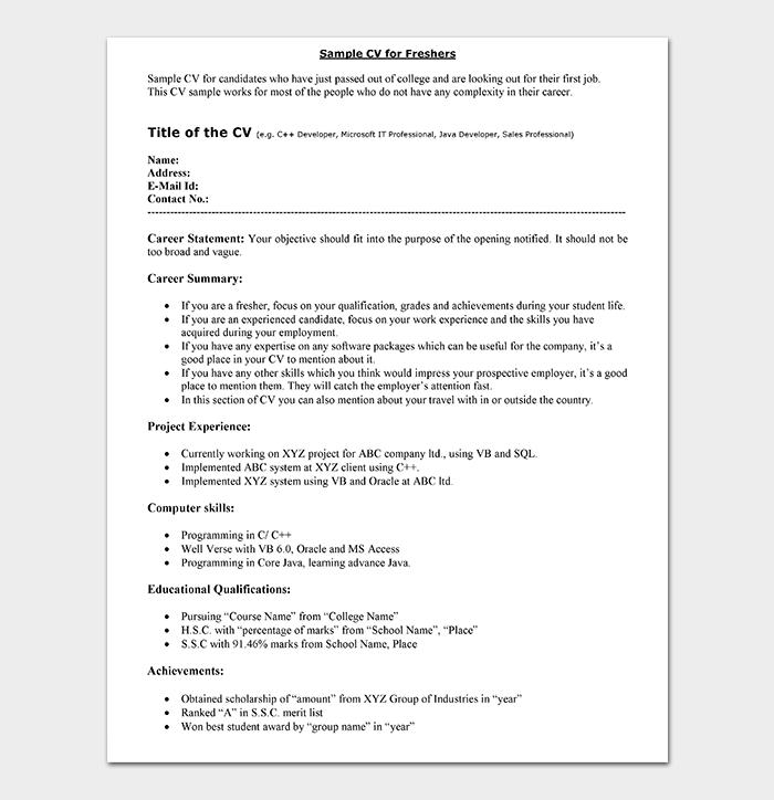 CV Format For Freshers