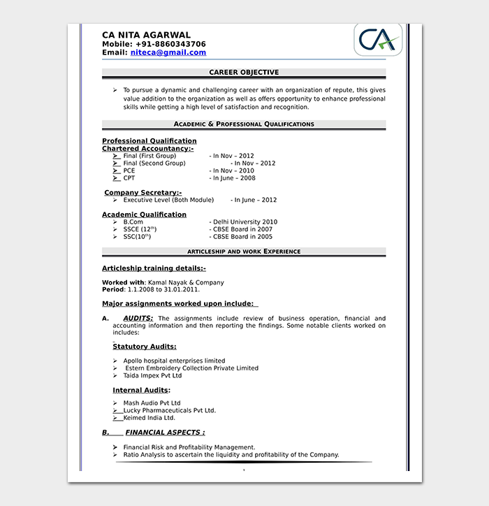 Chartered Accountant Fresher Resume