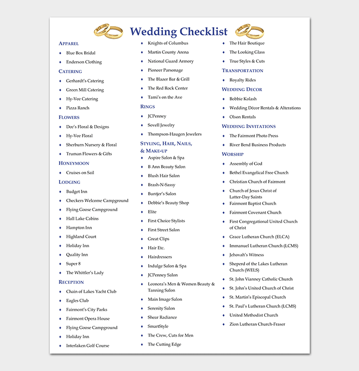 29+ Wedding Checklist Templates