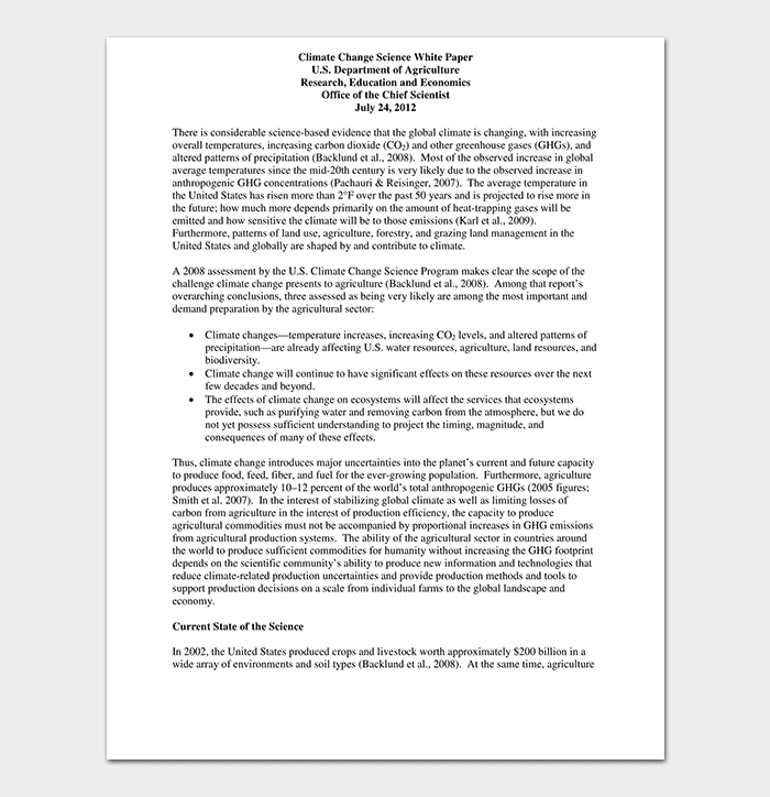 Climate Science White Paper
