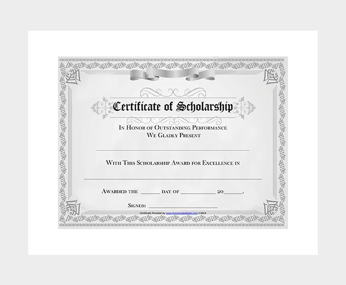 College Scholarship Award Certificate