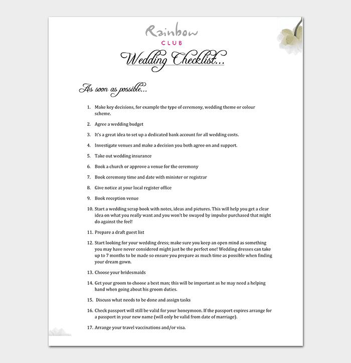 29+ Wedding Checklist Templates