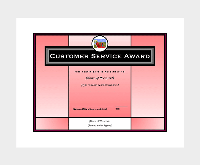 Customer Service Award Certificate
