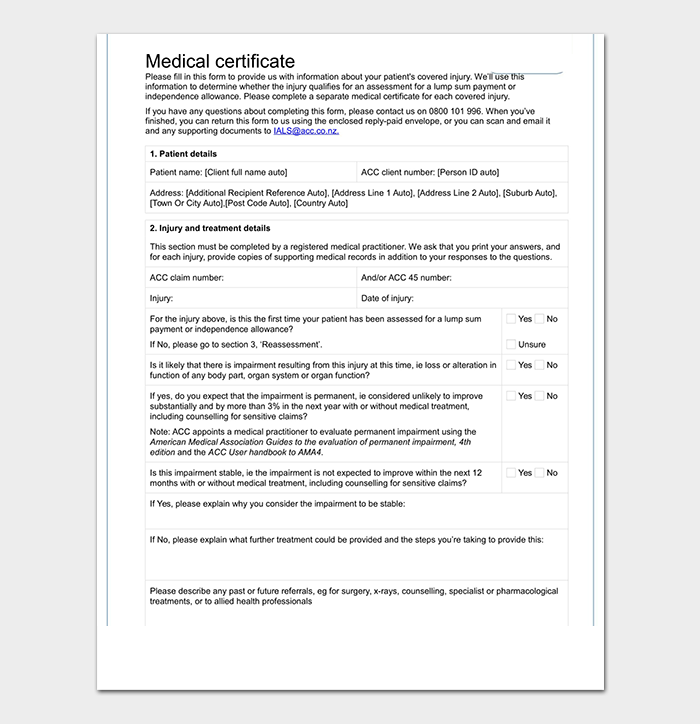 doctor certificate template word