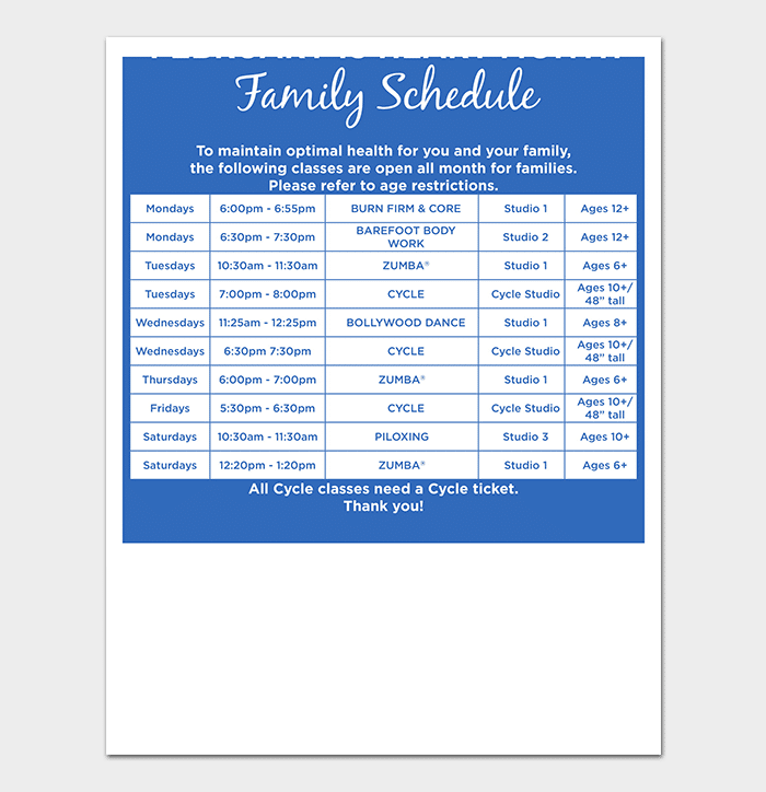 Editable Family Schedule